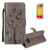 For Samsung Galaxy S8 Plus Case [with Free Screen Protector], Funyye Premium Soft PU Leather Notebook Wallet Embossed Ant Tree Shine Bright Diamond Design with Card Holder Slots Stand Protective Covers Skin for Samsung Galaxy S8 Plus - Grey