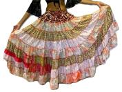 7 Yard Tribal Gypsy Maxi Tiered Skirt Belly Dancing Skirts Silk Blend Banjara Fits S M L XL