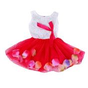 Balai Girls Summer Flower Lace Ruffle Princess Party Dress Bowknot Wedding Skirt