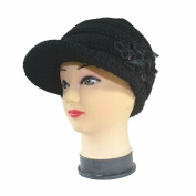 GOOTRADES Women's Cable Knit Visor Hat Warm Cap with Sequined Flower