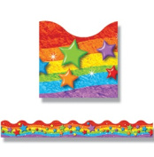 Trend Enterprises Rainbow and Stars Trimmers Scalloped Classroom Border