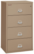 Fireking Fireproof Lateral File Cabinet (4 Drawers, Impact Resistant, Waterproof), 80cm x 60cm D, Taupe, Made in USA