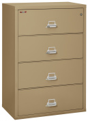 Fireking Fireproof Lateral File Cabinet (4 Drawers, Impact Resistant, Waterproof), 100cm W x 60cm D, Sand, Made in USA