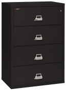 Fireking Fireproof Lateral File Cabinet (4 Drawers, Impact Resistant, Waterproof), 100cm W x 60cm D, Brown, Made in USA