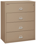 Fireking Fireproof Lateral File Cabinet (4 Drawers, Impact Resistant, Waterproof), 110cm W x 60cm D, Taupe, Made in USA