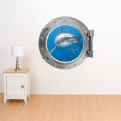 V & C Designs Full Colour Porthole Under the Sea Wall Sticker Decal Mural Ideal for Kids Bedrooms Bathrooms Hallway Office Lounge Great White Shark Design - Regular Size