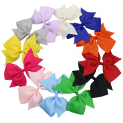 QtGirl 12 Pieces 12.5cm Mix Colours Large Pinwheel Hair Bows Hair Clips for Girls