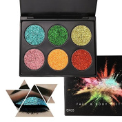 6 Colour Glitter Makeup Eyeshadow Palette, KRABICE Professional Metallic Shimmer Tattoos Cosmetic Body Face Sparking Pigment Textured Eye Shadow Bearuty Makeup Festival Decoration for Hair Nails - #3