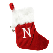 "18cm Red & White ""N"" Embroidered Mini Christmas Tree Stocking"