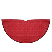120cm Red Quilted Christmas Decorative Tree Skirt with Velvety Trim