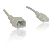 IEC C13 to C14 Mains Power Monitor M-F Extension Lead Cable Cord 3m 10 feet - WHITE