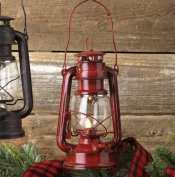 Shake Flame Battery Operated Red Vintage Style LED Lantern - 9.5 InchRed Lantern
