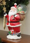28cm Santa Claus with Toy Sack Glitterdome Snow Globe Christmas Table Top Figure