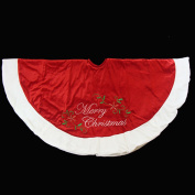 120cm Red Plush Merry Christmas Poinsettia Embroidered Tree Skirt with White Trim