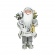 48cm Luxurious Snowy Standing Santa Claus Christmas Figure with Skis and Lantern