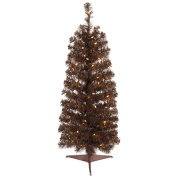 . Pre-Lit Chocolate Brown Pencil Artificial Christmas Tree - Clear Lights