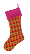 """47cm Fuschia Multi-Coloured Knitted """"T"""" Pattern Christmas Stocking"""
