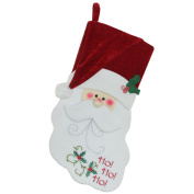 """19"""" Red and White Embroidered """"Ho! Ho! Ho!"""" Santa Face Christmas Stocking"""