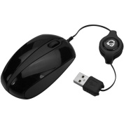 SIIG JK-US0A12-S1 SIIG Ultra Compact Retractable USB Optical Mouse - Black - Optical - Cable - Black - Retail - USB - 1000 dpi - Computer - Scroll Wheel - 3 Button