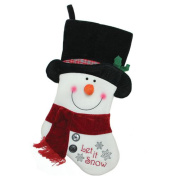 """18.5"""" Black, Red and White Embroidered """"Let It Snow!"""" Snowman Christmas Stocking"""