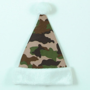 36cm Brown, Tan and Green Camouflage Print with White Cuff Christmas Santa Hat