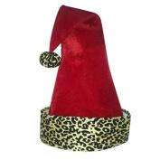 60cm Diva Safari Adult Red Velveteen with Gold Print Santa Hat with Pompom