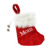 "18cm Red & White ""Mom"" Embroidered Mini Christmas Tree Stocking"