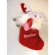 "18cm Red & White ""Brother"" Embroidered Mini Christmas Tree Stocking"