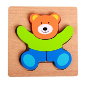 Wooden 3D Puzzle Jigsaw Wooden Educational Toys For Children Kids Puzzle Teaching Aids Set Puzzle Intelligence Toys Bear