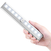 Motion Sensor Wardrobe Light,Battery Operated Closet Lights, LED Night Lights, 10 LED Cabinet Lights Bar Auto On/Off Stick-On Anywhere For Wall, Closet Cabinet, Stairs, Drawer, Wardrobe, Pure White