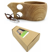 Welim Tea Cups Wooden Mug Double Hole Cup Wood Coffee Mug Handmade Wooden Cups Applicable to all kinds of drinks Environmental and health
