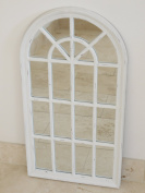 Country Style Antique White Wooden Arch Wall Mirror H86cm
