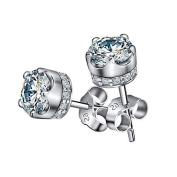 LANMPU 925 Sterling Silver Elements Sparkling Diamond Stud Earrings for Women