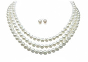 StunningBoutique Awesome Handcrafted 3 Strand Natural Charming Fresh Water Pearl Beaded Necklace with silver secure lock sliding clasp