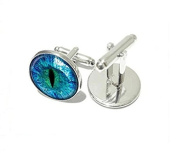 Blue Dragon Eye Glass Cufflink Charm Blue Cat Eye Cabochon Cufflinks