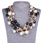 Elegant Women's Round Pearl Ball Beaded Golden Chain Linked Choker Necklace