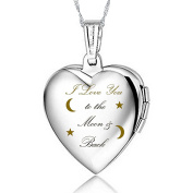 "IXIQI Jewellery Silver Plated Locket Engraved with "" I love you to the moon and back "". Heart Infinity Love Locket Necklaces for Women for Photo,45cm Chains"