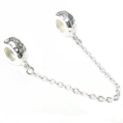 Sterling Silver Hammered Safety Chain Stopper with Rubber Bead for European Charm Bracelets