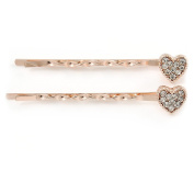 2 Clear Crystal Heart Hair Grips/ Slides In Gold Plating - 55mm L