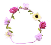 Flower power- pink roses & yellow tinted sun flower embellished head band