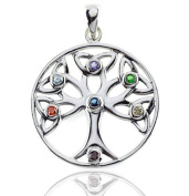DTPSilver - 925 Sterling Silver and Chakra CZ Cubic Zirconia Celtic Trinity Tree of Life Pendant