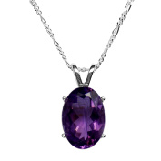 14x10mm Oval Faceted Purple Genuine Amethyst 925 Sterling Silver Pendant + 18 Inch Trace Chain