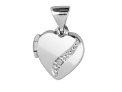 Sterling Silver 925 Locket Heart with Real Diamond Curve on 50cm chain