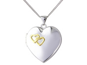 "Sterling Silver Locket Heart with Yellow Rhodium And 18"" / 45cm Chain"