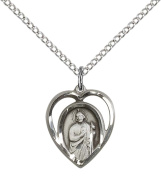 Sterling Silver St. Jude Pendant with 46cm Sterling Silver Lite Curb Chain. Patron Saint of Desperate Situations