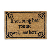 Relaxdays Natural Coconut Fibre Coir BRING BEER Doormat Door Mat Welcome Mat w/ Anti-Slip Rubber PVC Underside, Brown