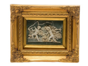 """Picture in relief - 2 children - angels - antique style - faux alabaster - 10.2""""x12.2"""""""