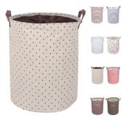 DOKEHOM DKA0814BNL2 50cm Large Laundry Basket (Available 45cm and 50cm ), Drawstring Waterproof Round Cotton Linen Collapsible Storage Basket