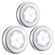 Motion Sensor Light, OMorc 6 LED 3 Pack Cordless Battery-Powered LED Night Light with 3M Adhesive Pads Compact Closet Light, Stairs Light, Stick-Anywhere Safe Wall Light for Kitchen, Bathroom, Hallway, Bedroom, Garage, Basement - White
