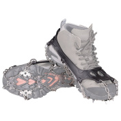 KUMFI Cleats 18 Teeth Anti-Slip Crampon, Ice Spikes, Grips, Stainless Steel Crampons for Snow /Ski Boots